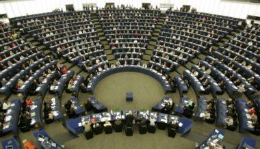 The plenary room of the European Parliament in Strasbourg.
