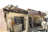 A destroyed building at the site of a bomb blast at St. Theresa ...