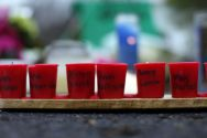 Candles with the names of shooting victims written on them sit at a ...