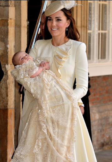 Duchess of Cambridge and Prince George after christening service