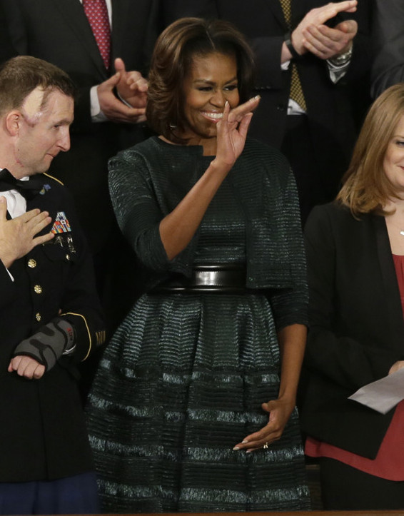 Alaia Dress And Jacket Mrs. Obama Wore AP Michelle Obama