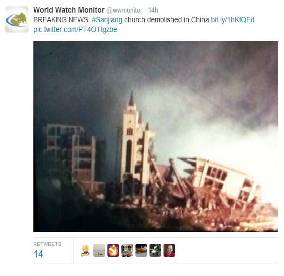 Mega-church demolished in China; Government says building was illegal (Photo)