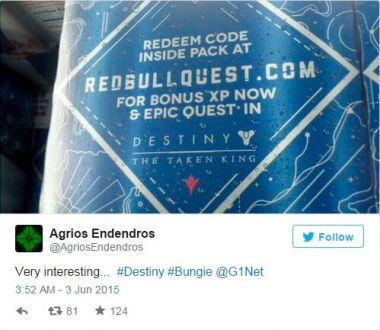 Destiny the taken king dlc alleged collab with red bull leaked on