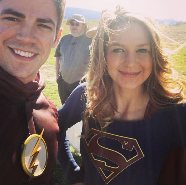 Grant Gustin shares first set photo from 'Supergirl', 'Flash' crossover
