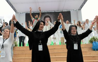Nuns dance at the opening ceremony at World Youth Day in Krakow, Poland.