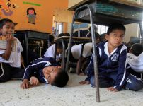 students-take-part-in-an-evacuation-drill-to-prepare-them-in-case-they-get-caught-in-crossfire-between-the-army-and-revolutionary-armed-forces-of-colombia-farc-rebels-at-a-school-in-toribio-cauca