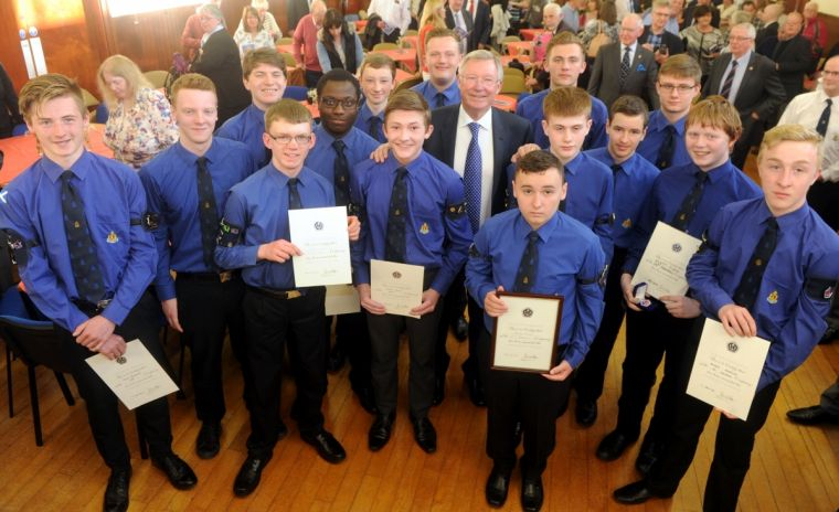 Sir Alex Ferguson with Boys' Brigade members