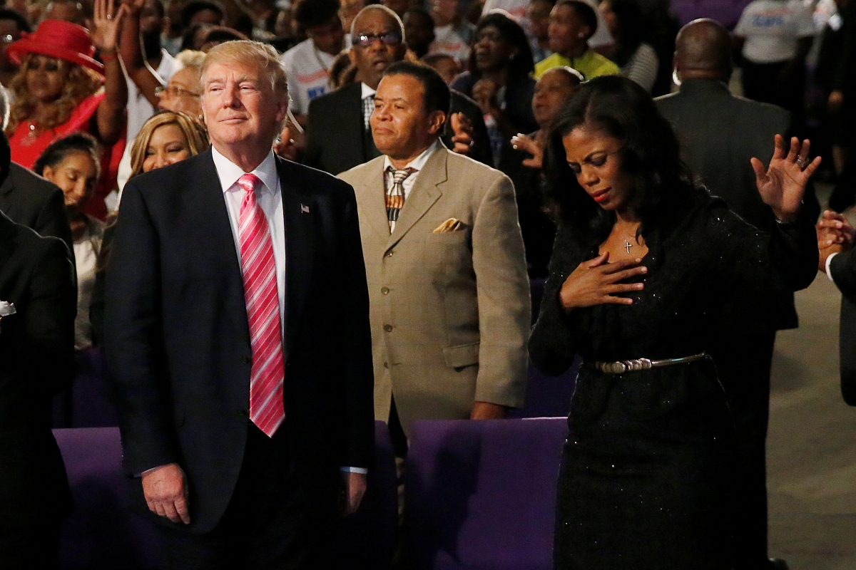 Donald Trump's flying visit to black Detroit church