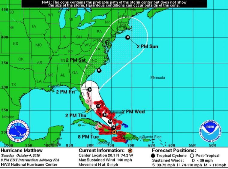 Hurricane Matthew Path Update 2016 Tracker Map Florida