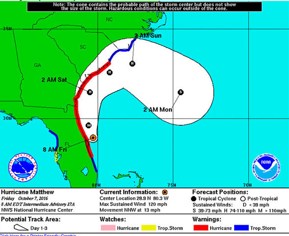 Hurricane Matthew Path Update News Track Map Matthew Moves - Georgia map hurricane