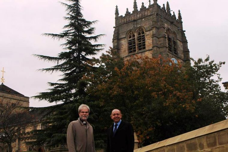 Jerry Lepine, Dean of Bradford, with communities minister Lord Bourne at Bradford Cathedral