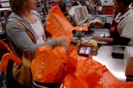 File photo dated 19/04/2007 of a woman using disposable shopping bags ...